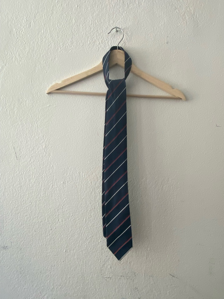 Red and white stripped tie